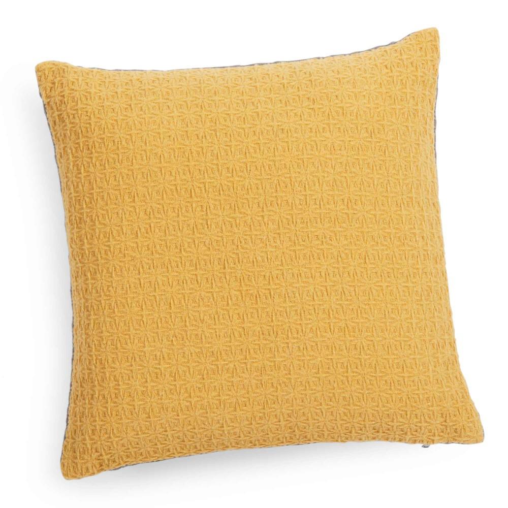 coussin jaune moutarde gris 40 x 40 cm yep maisons du monde. Black Bedroom Furniture Sets. Home Design Ideas