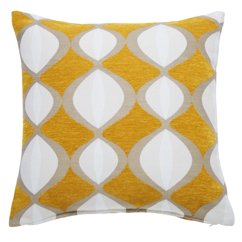 coussin jaune moutarde motifs bicolores 45x45cm twiggy | maisons du