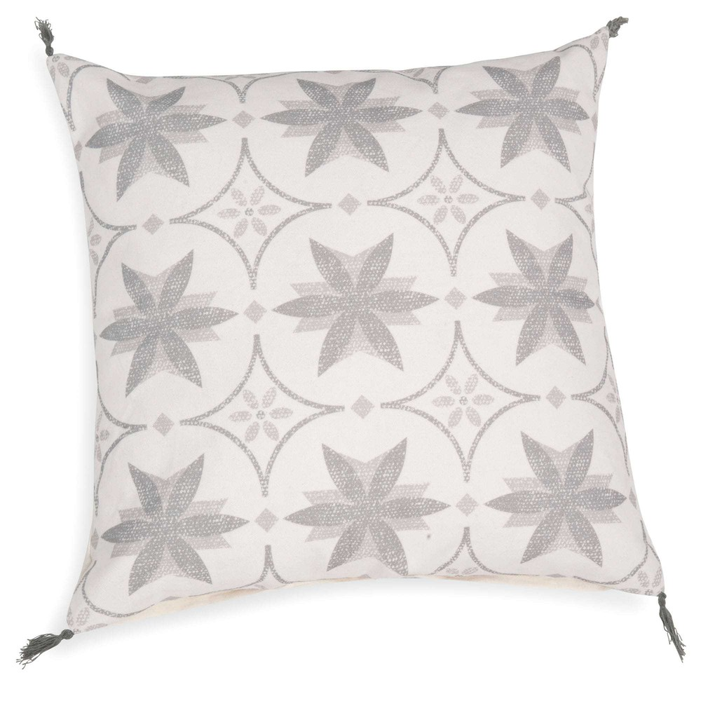 coussin motif carreaux de ciment gris blanc 50x50 cm mandragore maisons du monde. Black Bedroom Furniture Sets. Home Design Ideas