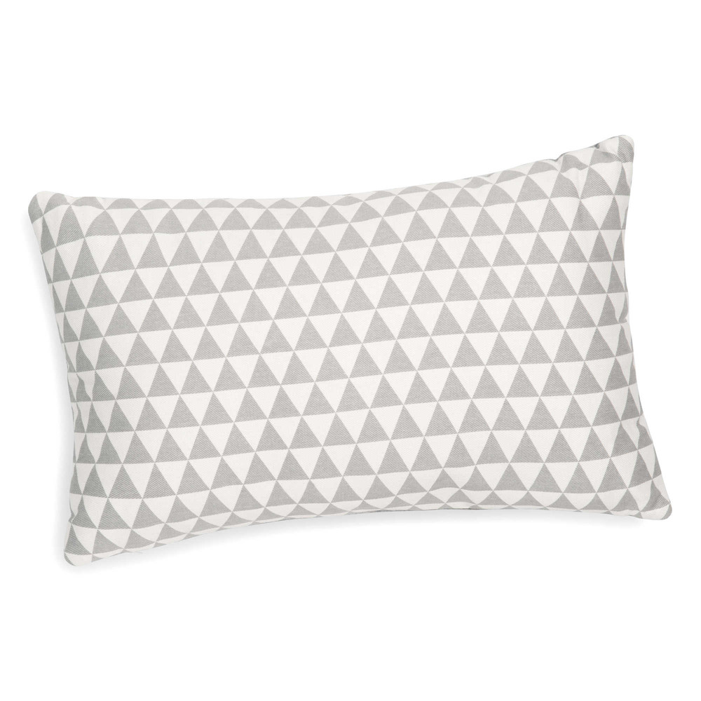 coussin motif triangles blanc gris 30 x 50 cm lena. Black Bedroom Furniture Sets. Home Design Ideas