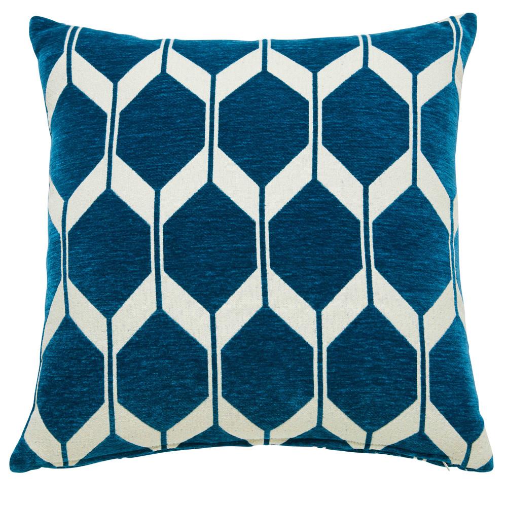 Coussin motifs bleu canard 45x45cm aston maisons du monde - Housse coussin bleu canard ...