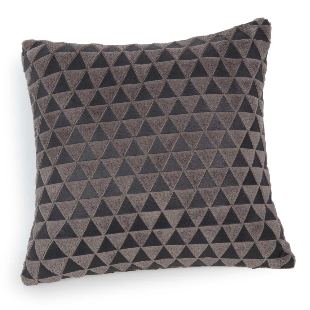 coussin motifs triangle en tissu taupe 40 x 40 cm chaleur. Black Bedroom Furniture Sets. Home Design Ideas