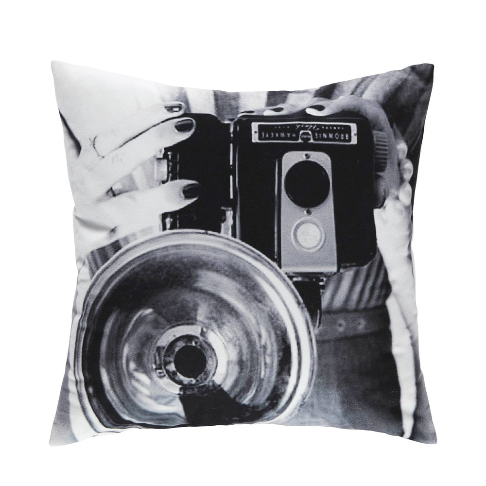 coussin photo vintage noir et blanc 45 x 45 cm studio maisons du monde. Black Bedroom Furniture Sets. Home Design Ideas