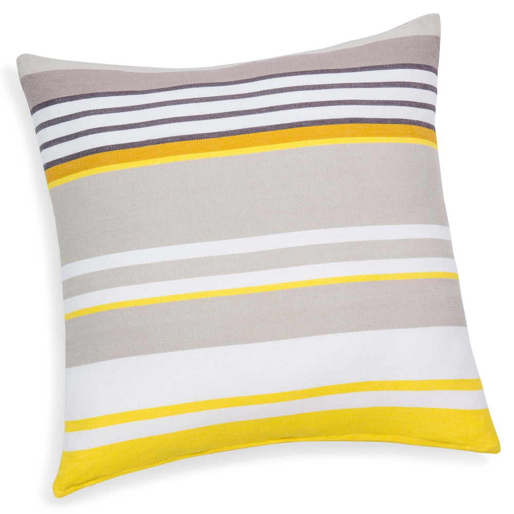 coussin ray en coton jaune gris 50 x 50 cm porto maisons du monde. Black Bedroom Furniture Sets. Home Design Ideas