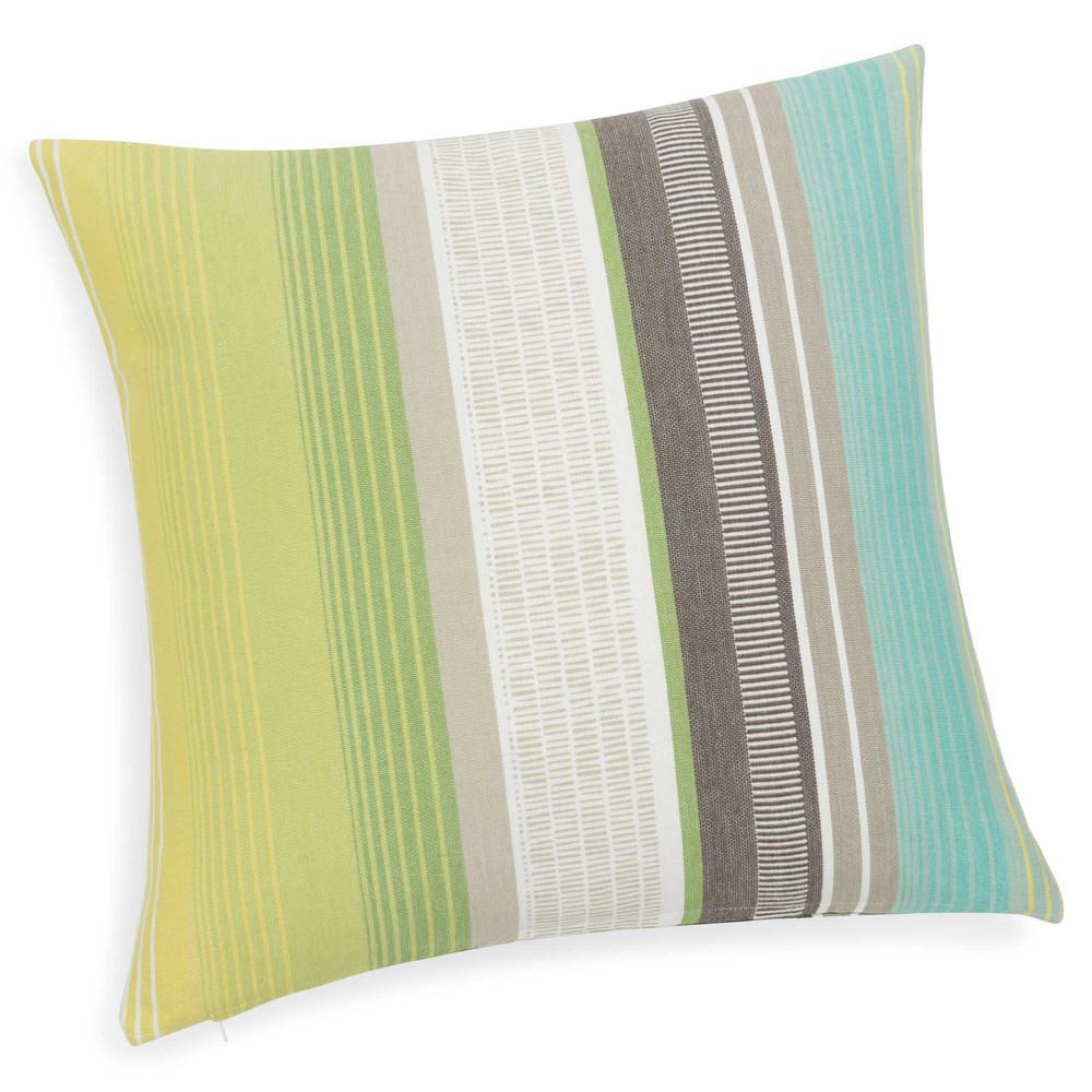 coussin ray en coton vert bleu 50 x 50 cm malajaya. Black Bedroom Furniture Sets. Home Design Ideas