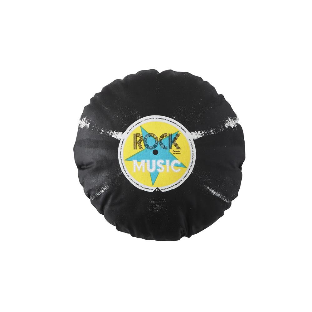 Coussin Rond En Coton Noir D 35 Cm Vinyle Maisons Du Monde