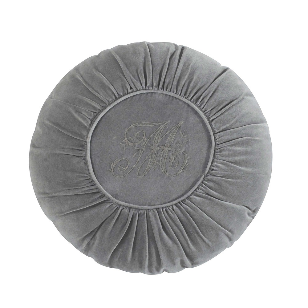 coussin rond en velours gris d 45 cm alexandrine maisons du monde. Black Bedroom Furniture Sets. Home Design Ideas