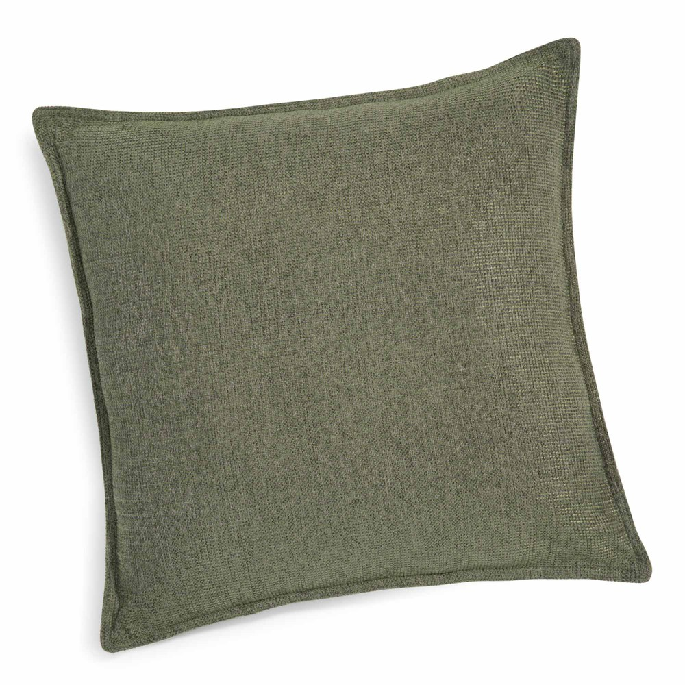coussin vert lichen 45 x 45 cm chenille maisons du monde. Black Bedroom Furniture Sets. Home Design Ideas