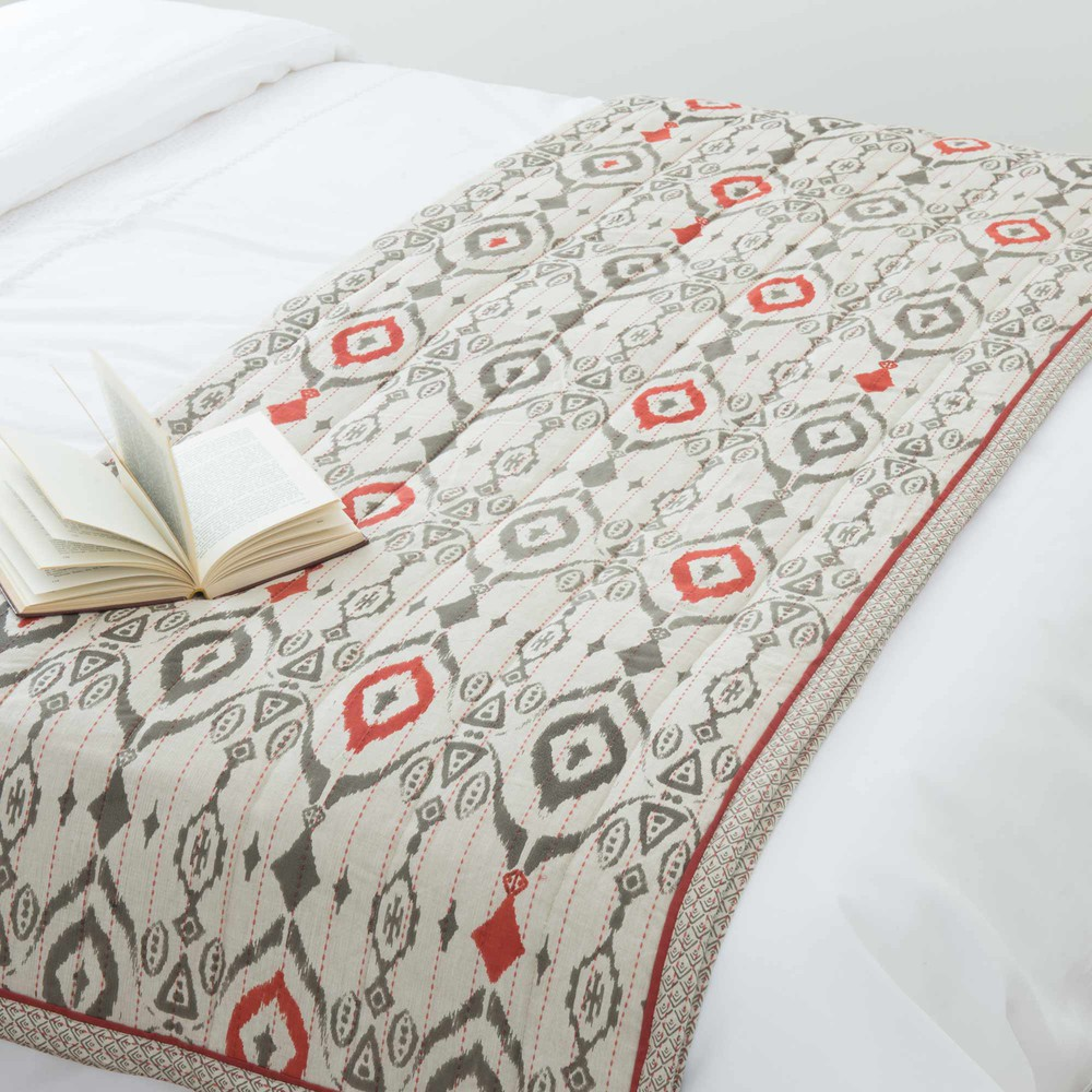 couvre lit en coton gris 130 x 180 cm ikat maisons du monde. Black Bedroom Furniture Sets. Home Design Ideas