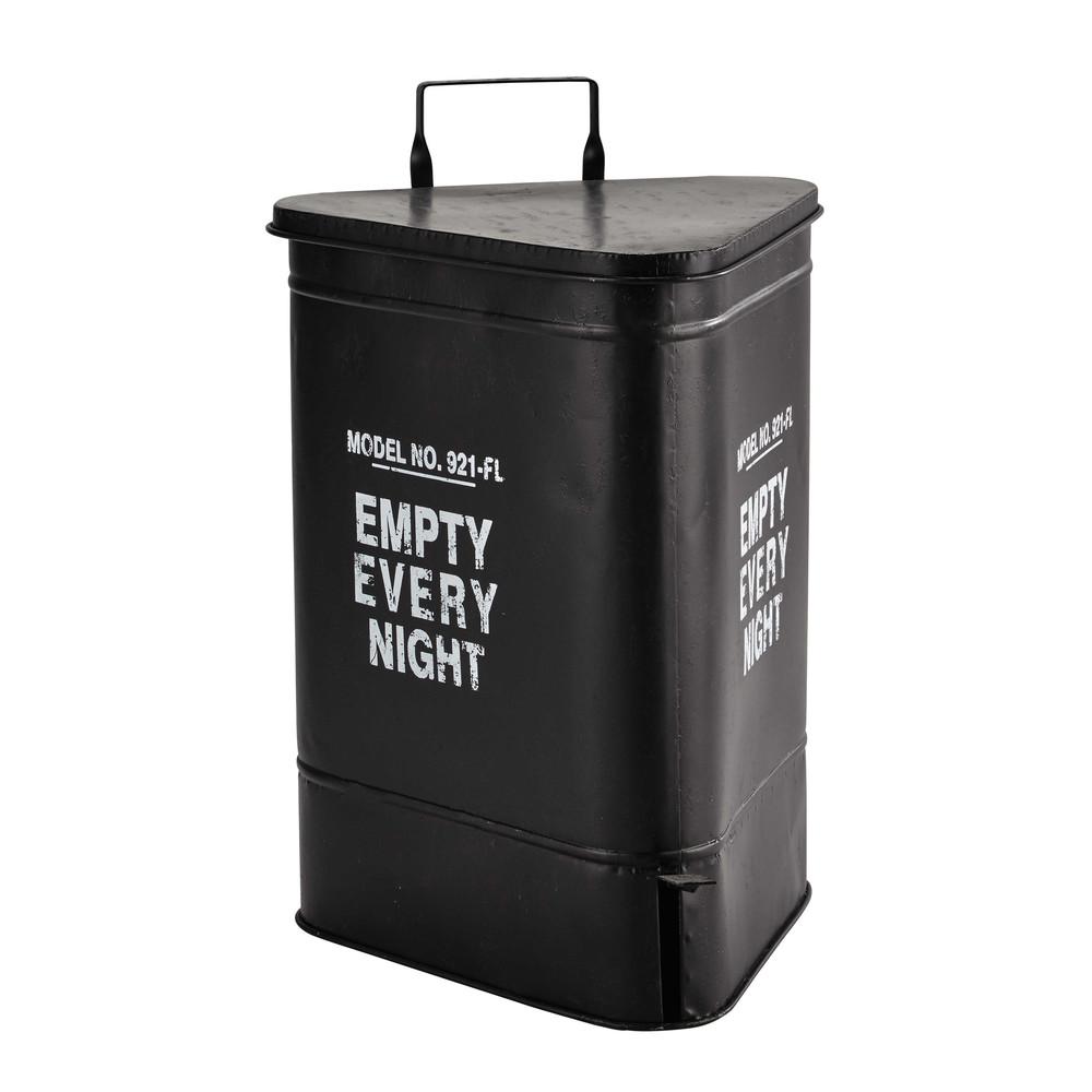 covington metal bin in black h 63cm maisons du monde. Black Bedroom Furniture Sets. Home Design Ideas