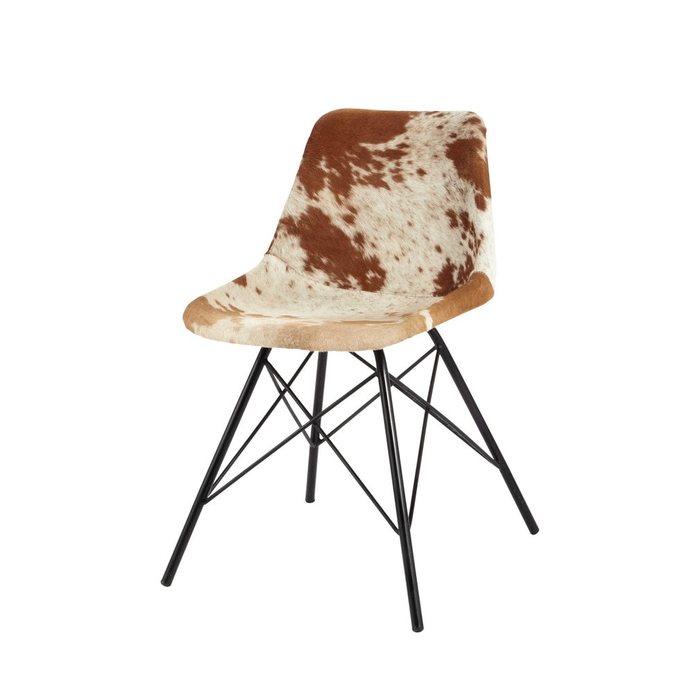 Cowhide and metal chair austerlitz maisons du monde for Chaise de salle a manger maison du monde