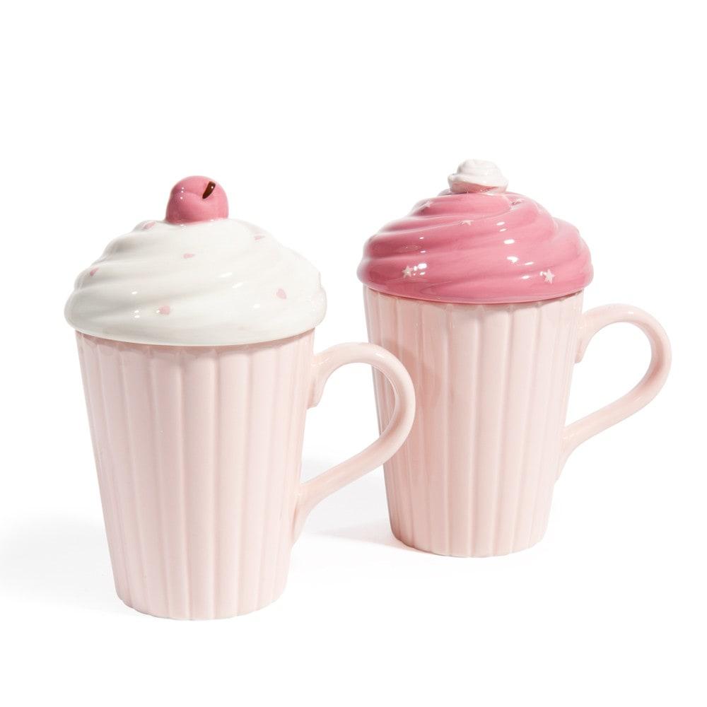 Creamy earthenware mugs with lid in pink maisons du monde - Maison du monde mug ...