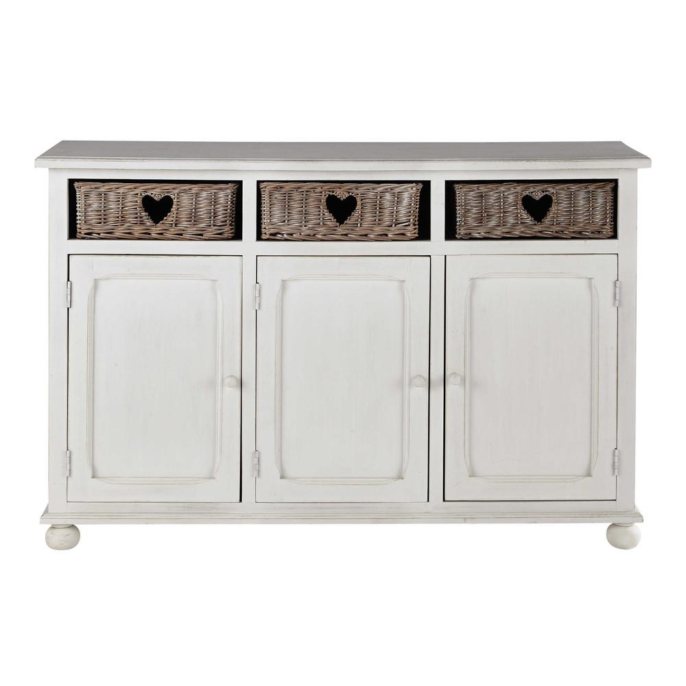 Credenza bassa bianca in legno di paulonia L 130 cm Romance ...