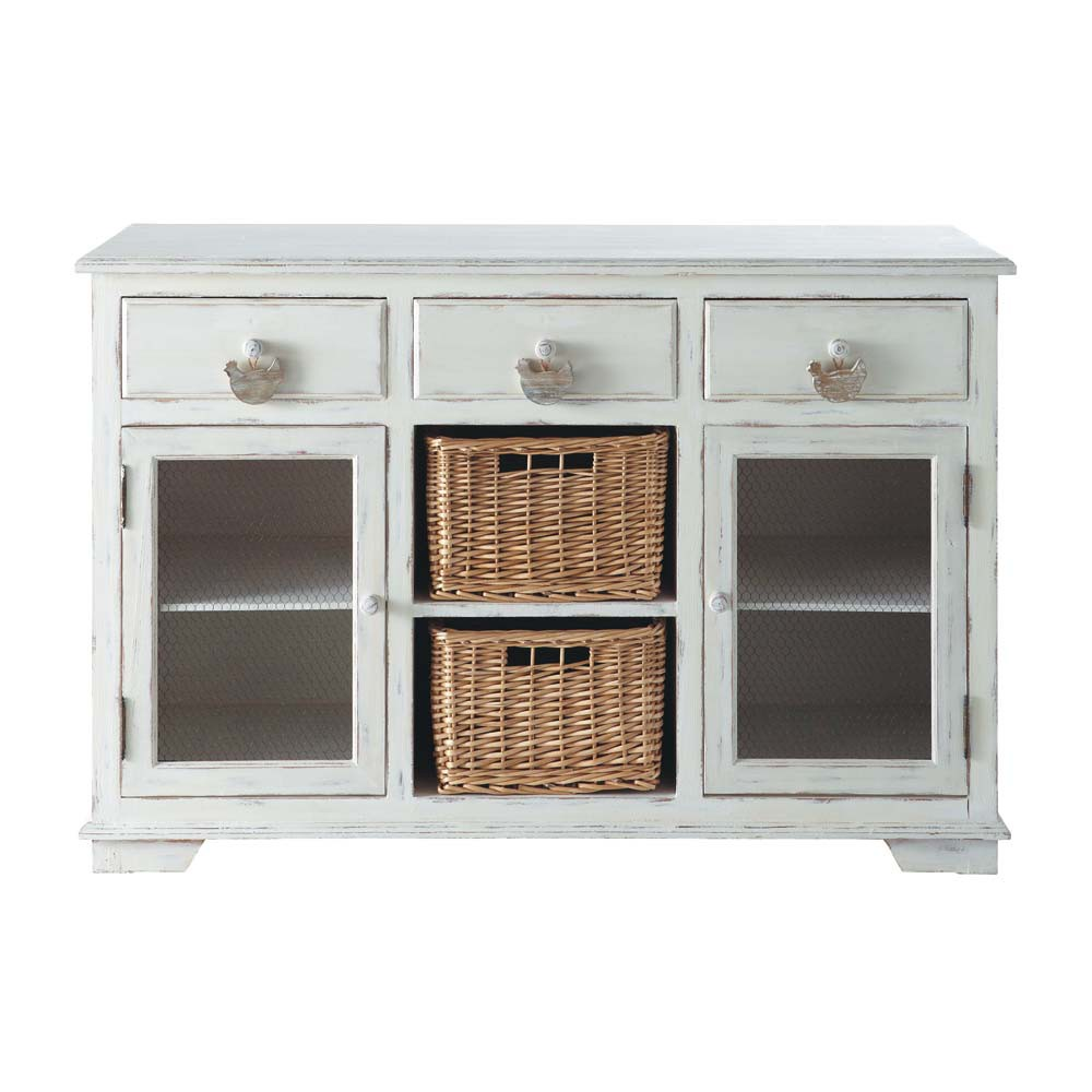 credenza bianca in legno l 126 cm basse cour maisons du. Black Bedroom Furniture Sets. Home Design Ideas