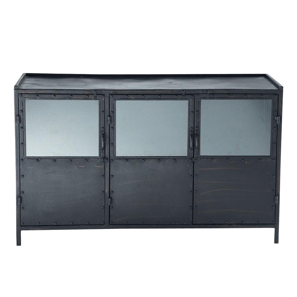 Credenza nera con vetrine stile industriale in metallo l for Credenza industriale