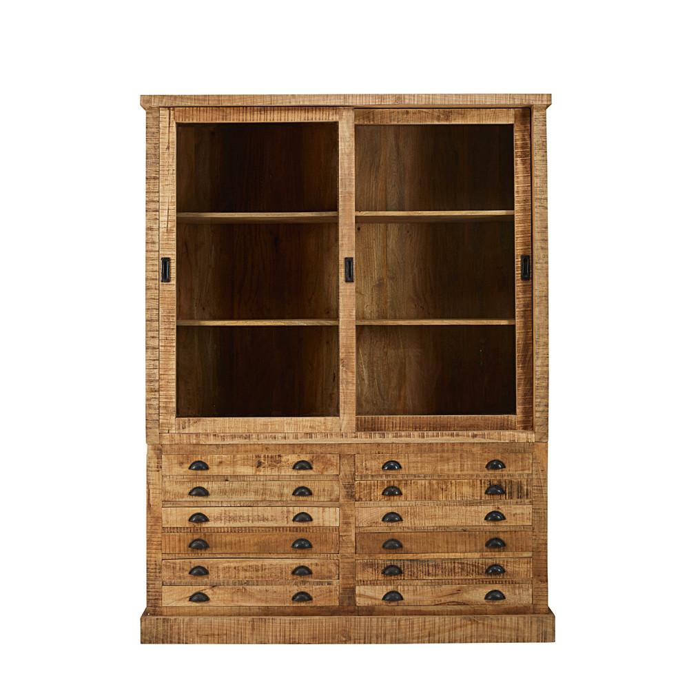 Credenza stile industriale 2 porte 6 cassetti in legno for Credenza industriale