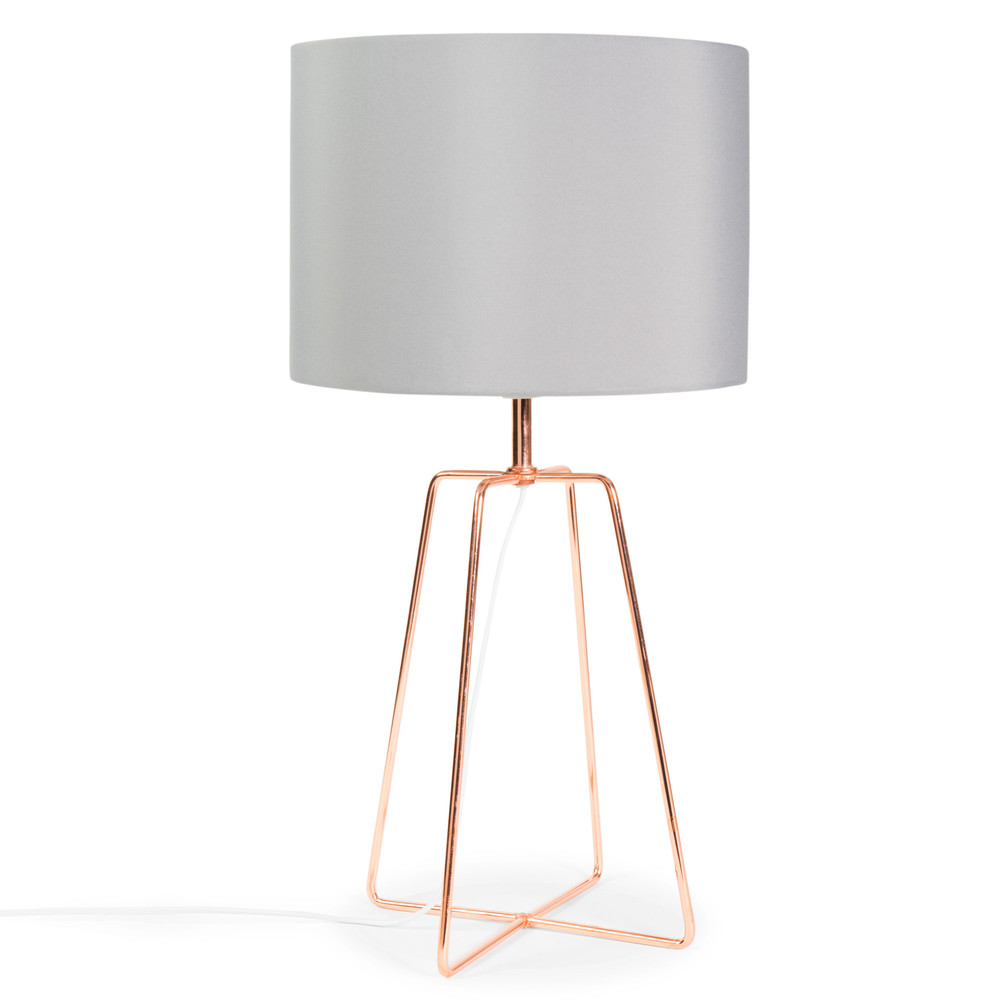 CROSSY COPPER Metal Lamp With Grey Fabric Lampshade H 49cm