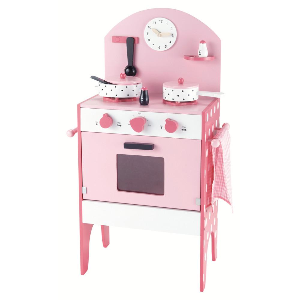 Cuisinière pour enfant en bois rose H 70 cm JUSTINE  ~ Cuisiniere Enfant En Bois
