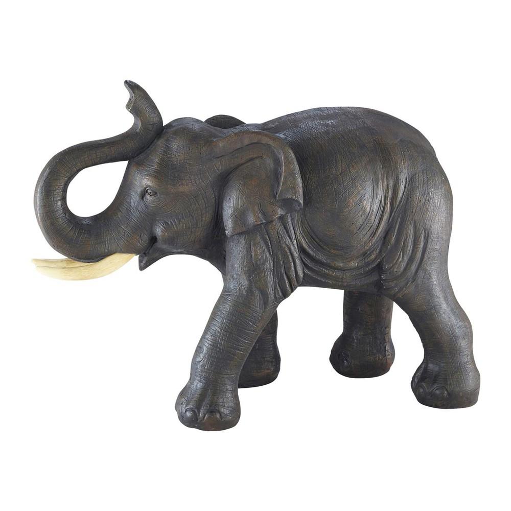 cumba grey resin elephant statuette h 36 cm maisons du monde. Black Bedroom Furniture Sets. Home Design Ideas