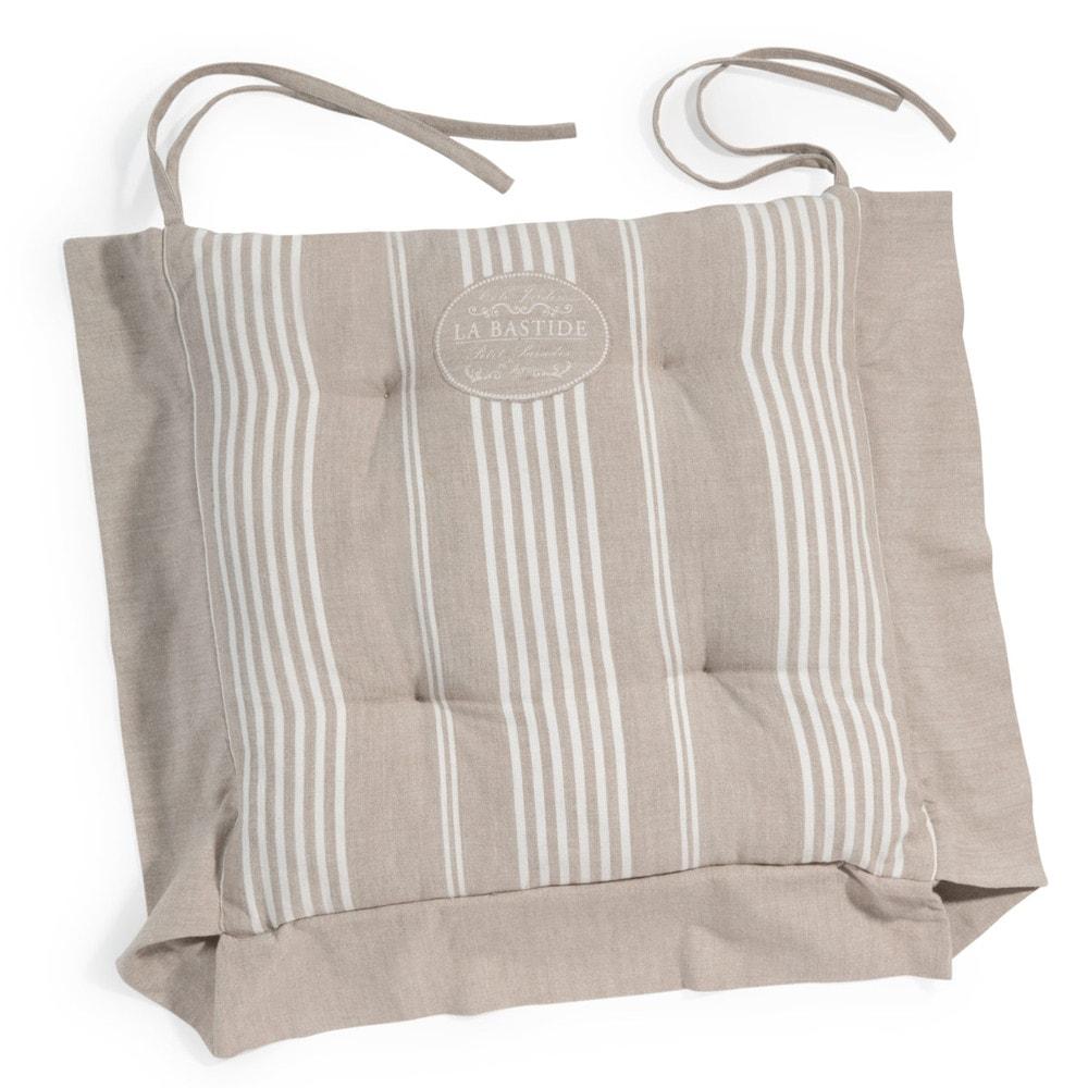 Cuscino da sedia beige a righe in cotone la bastide maisons du monde - Maison du monde cuscini da esterno ...