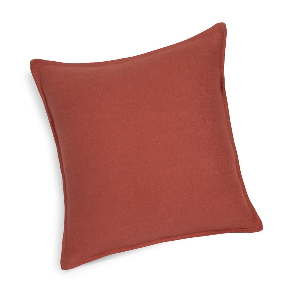 Cuscino in lino slavato rosso scuro 45 x 45 cm  Maisons ...