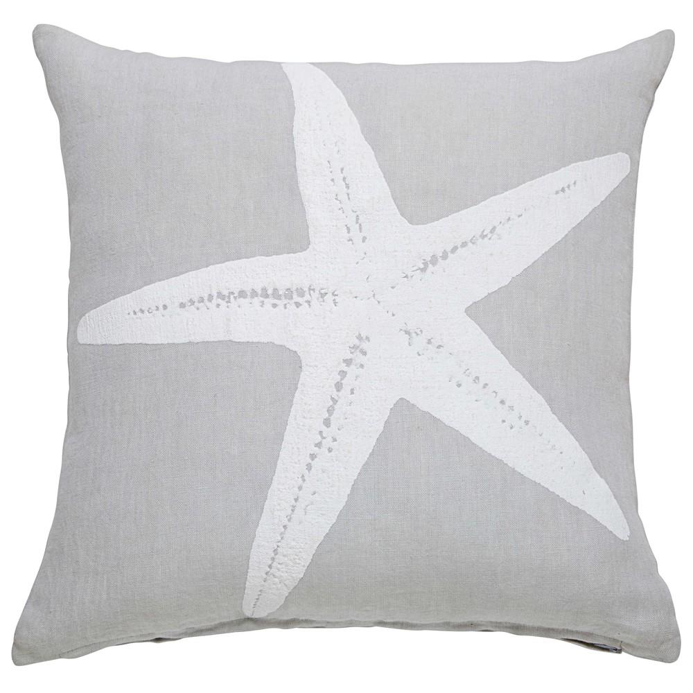 cuscino stampato stella marina in lino grigio 45x45cm starfish