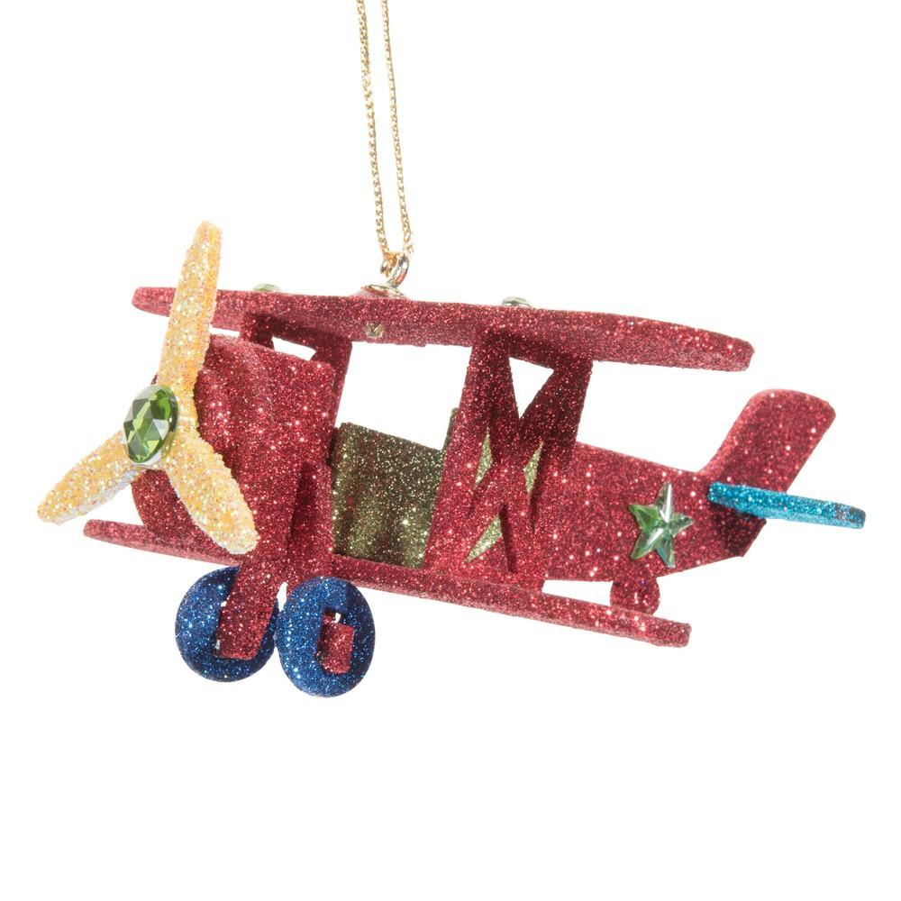d co avion pour sapin en bois rouge l 13 cm enfant. Black Bedroom Furniture Sets. Home Design Ideas