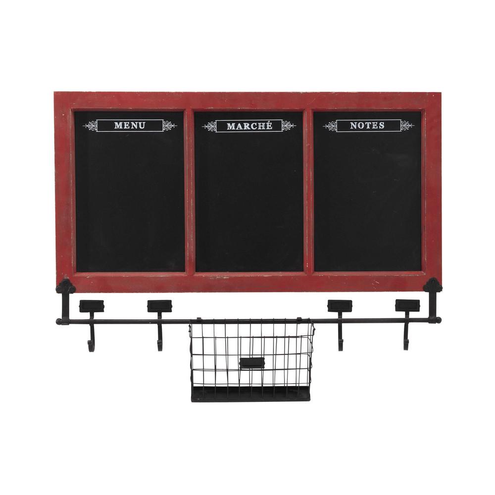 d co murale 3 tableaux noirs en bois et ardoise rouge 78 x. Black Bedroom Furniture Sets. Home Design Ideas