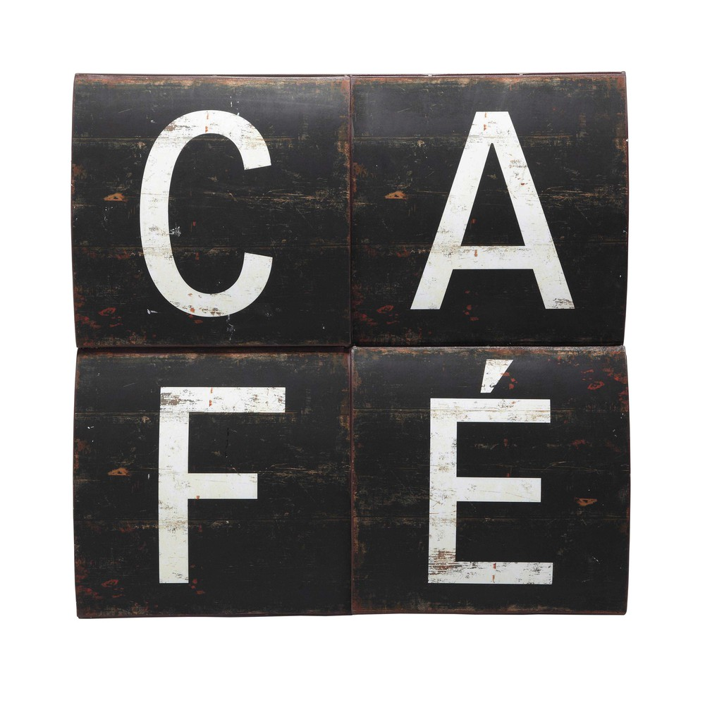 d co murale caf en m tal noire 72 x 72 cm au comptoir. Black Bedroom Furniture Sets. Home Design Ideas