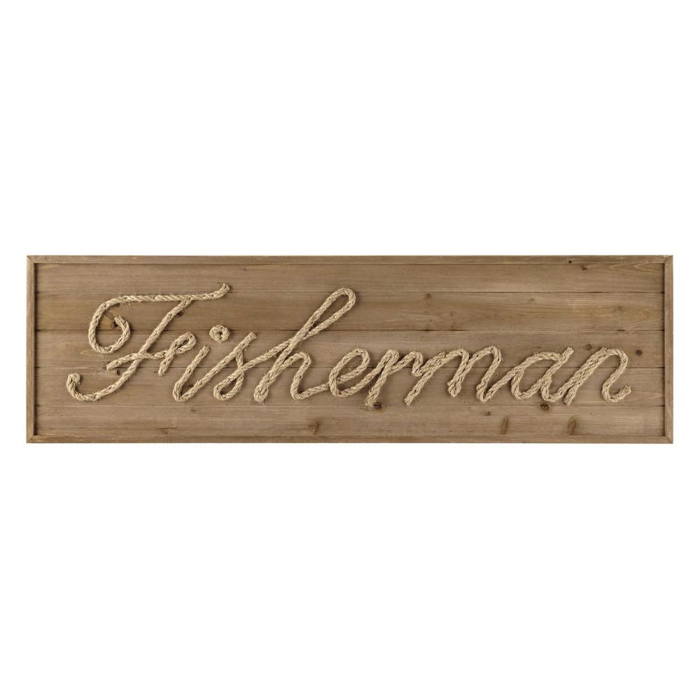 D co murale en bois et corde l 120 cm fisherman maisons - Deco murale en bois ...