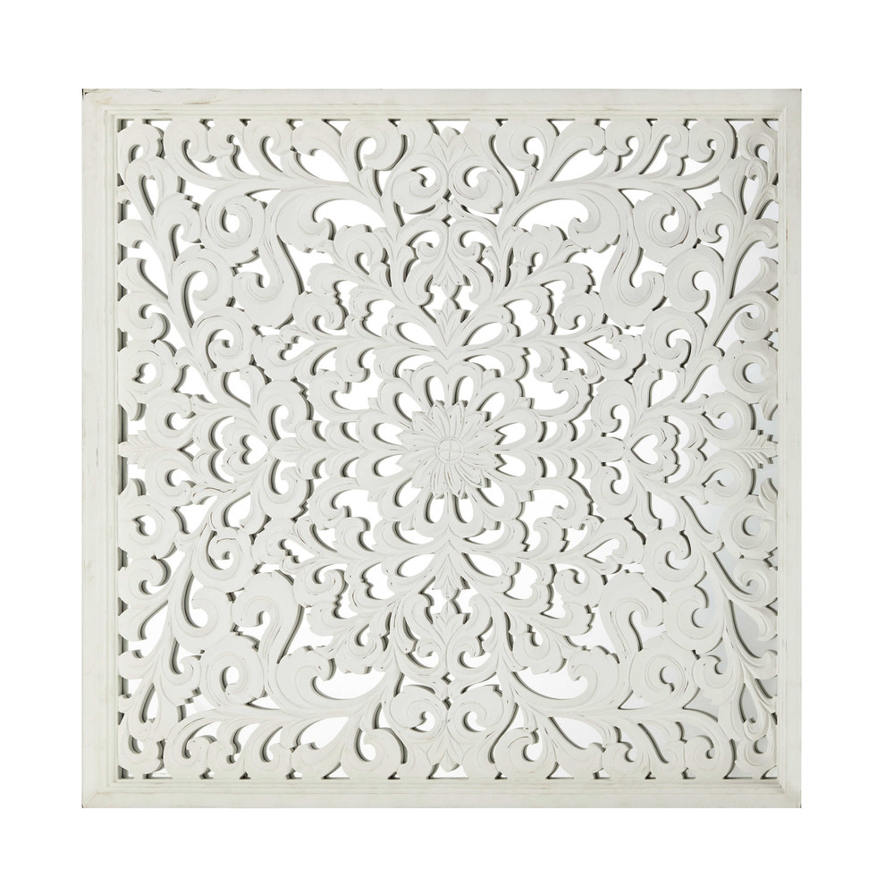 D co murale en bois sculpt blanche 91 x 91 cm khasab for Decoration murale en bois