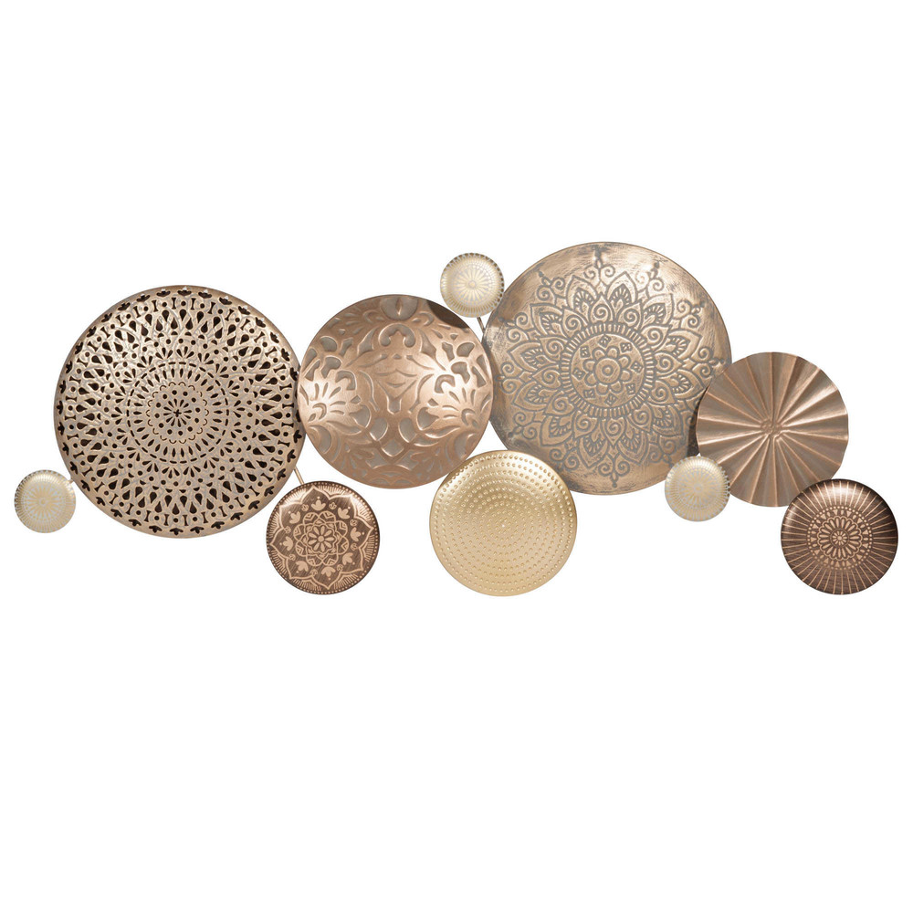 D co murale en m tal dor circles maisons du monde for Deco murale en metal
