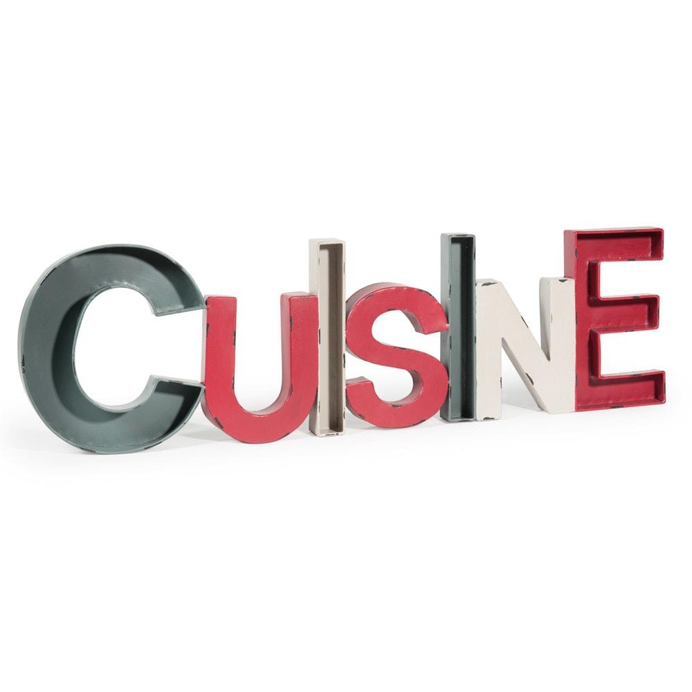 D co murale en m tal rouge grise et cr me l 91 cm cuisine - Tableau cuisine maison du monde ...