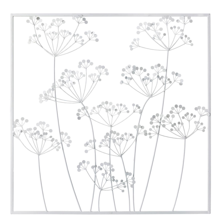 Deco Murale Florale En Metal Blanc 92x92 Irina Maisons Du Monde