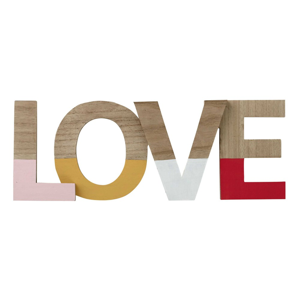 D co murale love en bois 19 x 50 cm l a maisons du monde for Decoration murale love