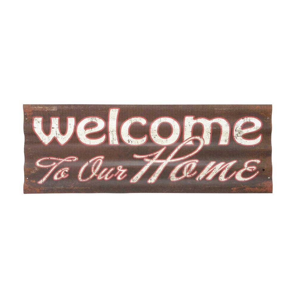 d co murale m tal welcome maisons du monde. Black Bedroom Furniture Sets. Home Design Ideas