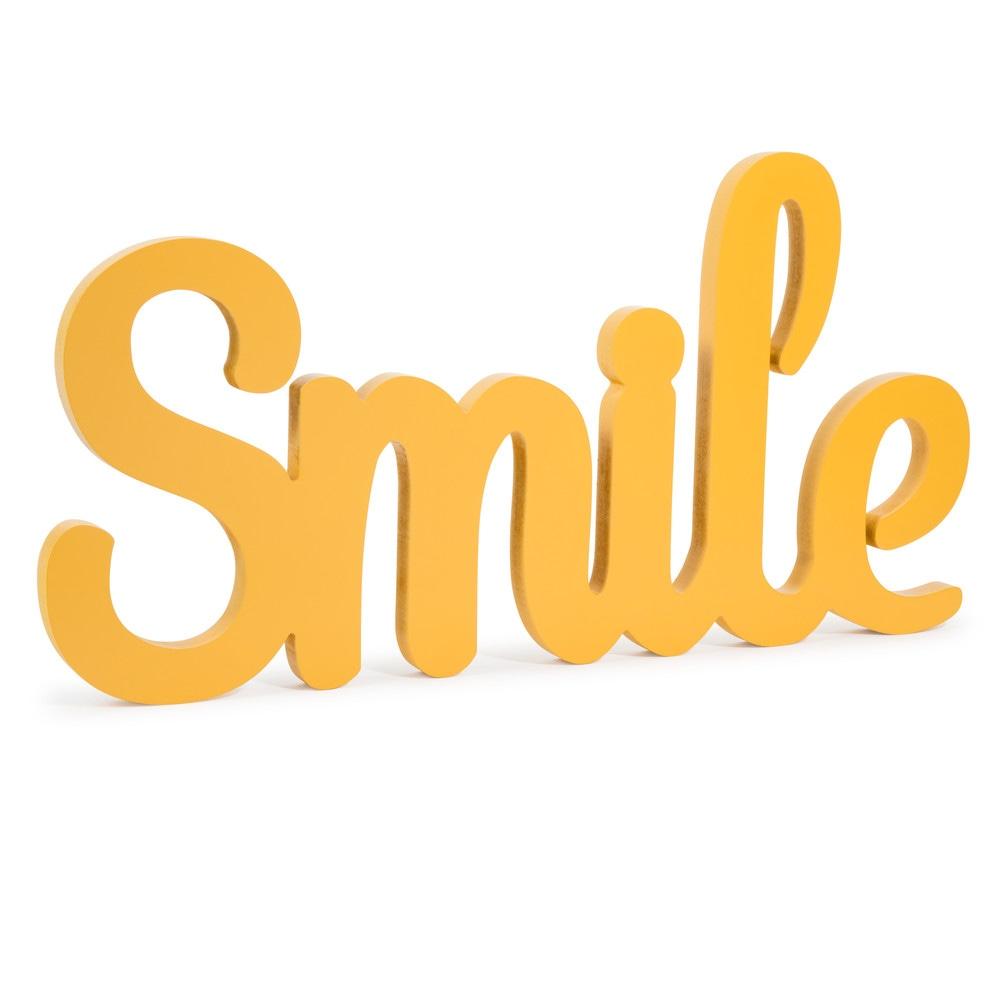 D 233 Co Murale Smile Jaune L 55 Cm Vintage Maisons Du Monde