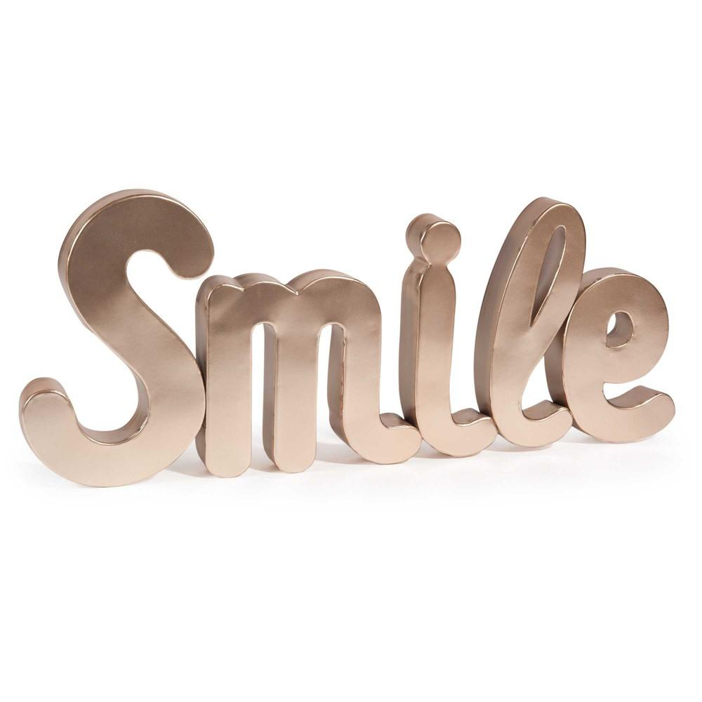 Decoraci n de pared de metal 25 x 60 cm smile cooper for Letras decoracion metal