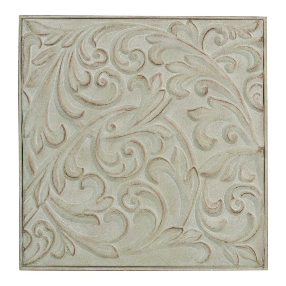 Decoraci n de pared de metal verde 36 x 36 cm l onore for Adornos pared metal
