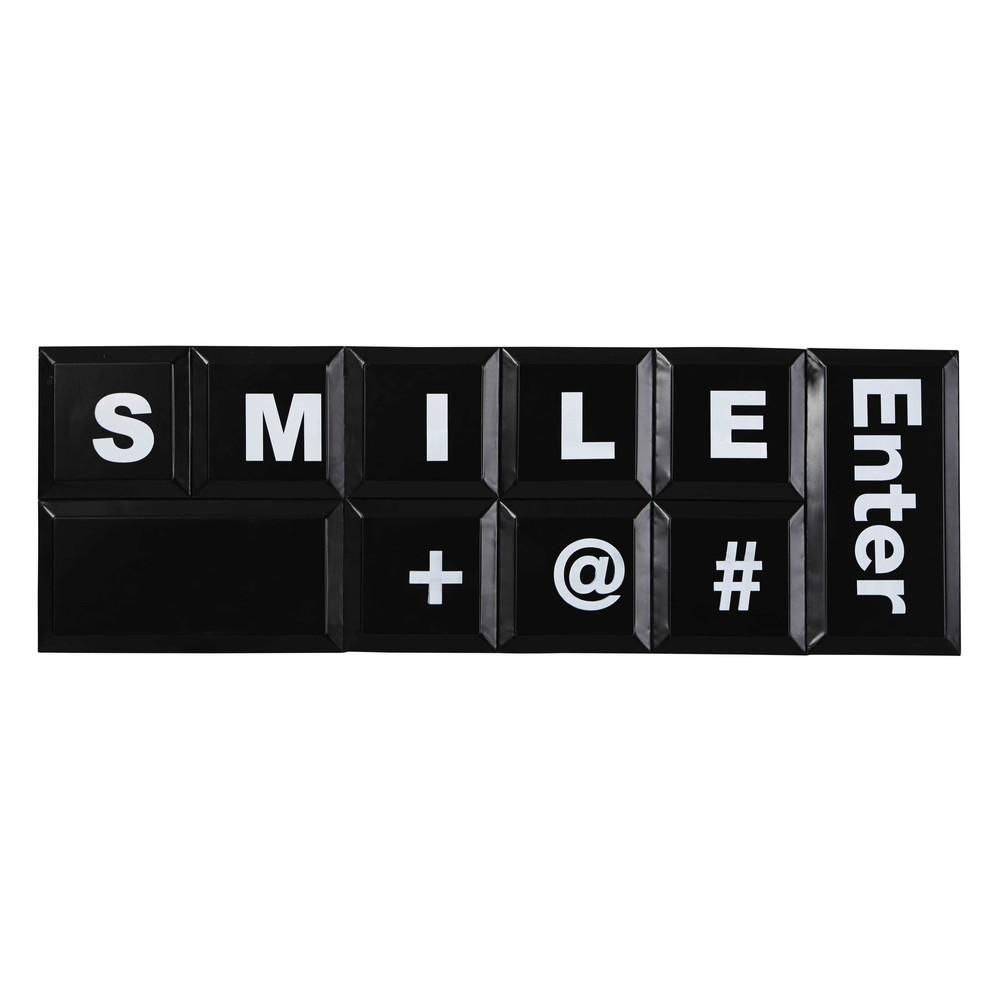 d coration murale clavier en m tal noir 30 x 90 cm. Black Bedroom Furniture Sets. Home Design Ideas