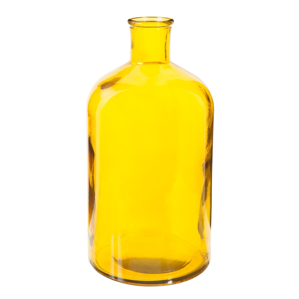 Decorative Glass Bottle Yellow H 28cm Maisons Du Monde