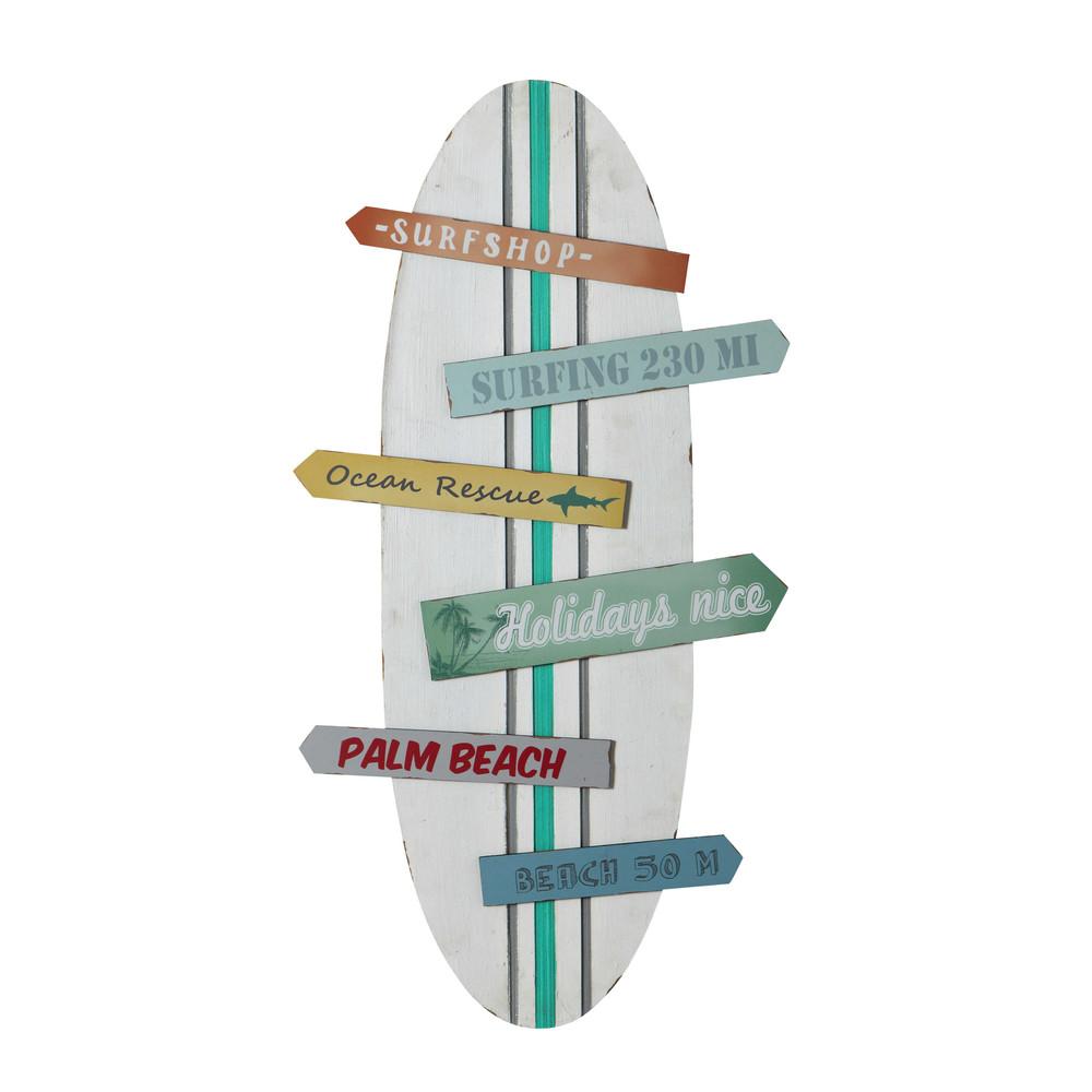 Decorazione murale tavola da surf multicolore 45 x 90 cm SURFING ...
