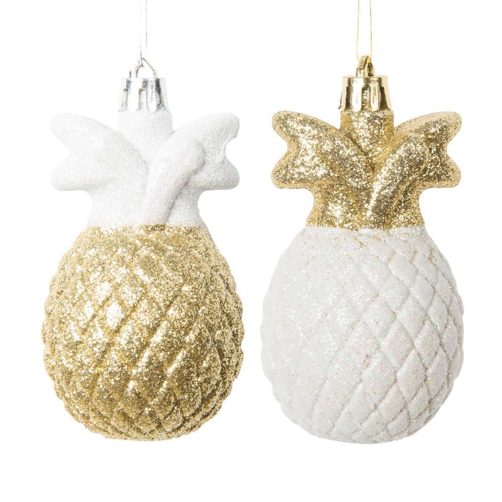 Decorazioni di natale ananas dorate bianche h 9 cm maisons du monde - Decorazioni bianche ...