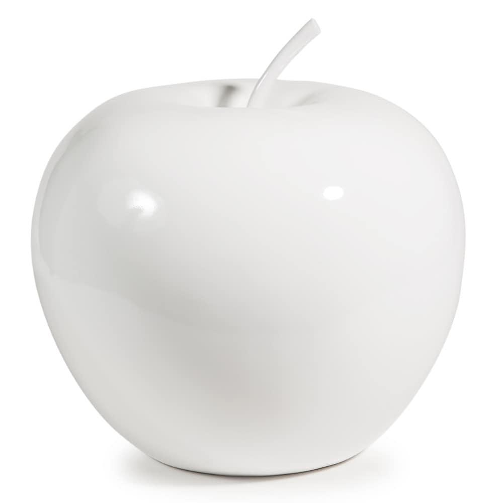 Deko apfel apple aus kunstharz h 35 cm wei maisons du for Apfel dekoration