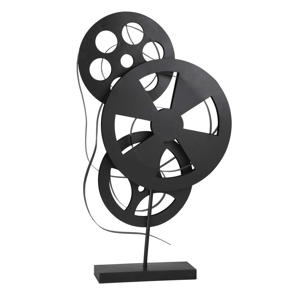deko filmspulen aus schwarzem metall h 71 cm filmkunst maisons du monde. Black Bedroom Furniture Sets. Home Design Ideas