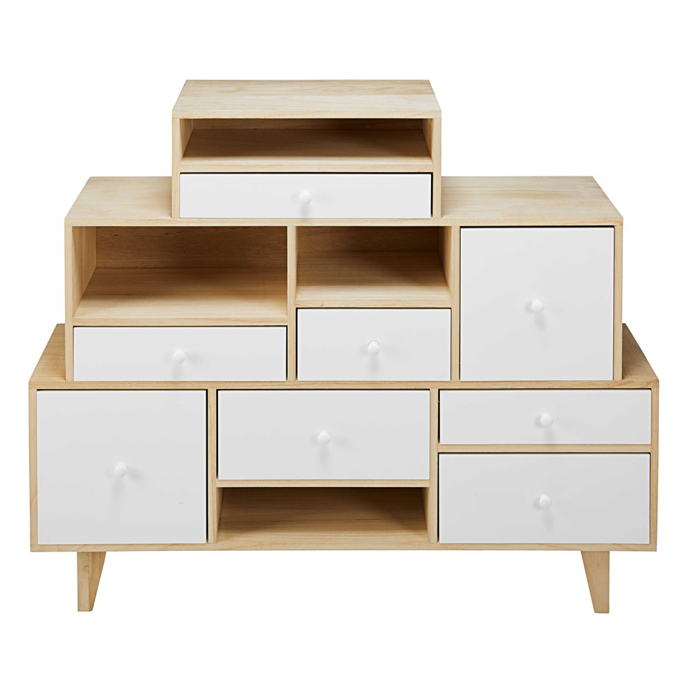 destrukturierte kommode mit 8 schubladen aus paulownienholz wei spring maisons du monde. Black Bedroom Furniture Sets. Home Design Ideas