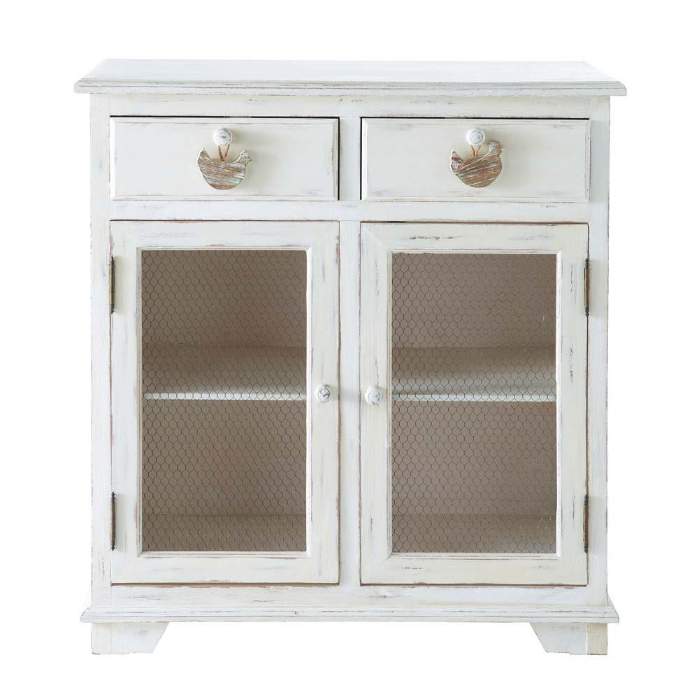 Dispensa bianca in legno L 80 cm Basse Cour | Maisons du Monde