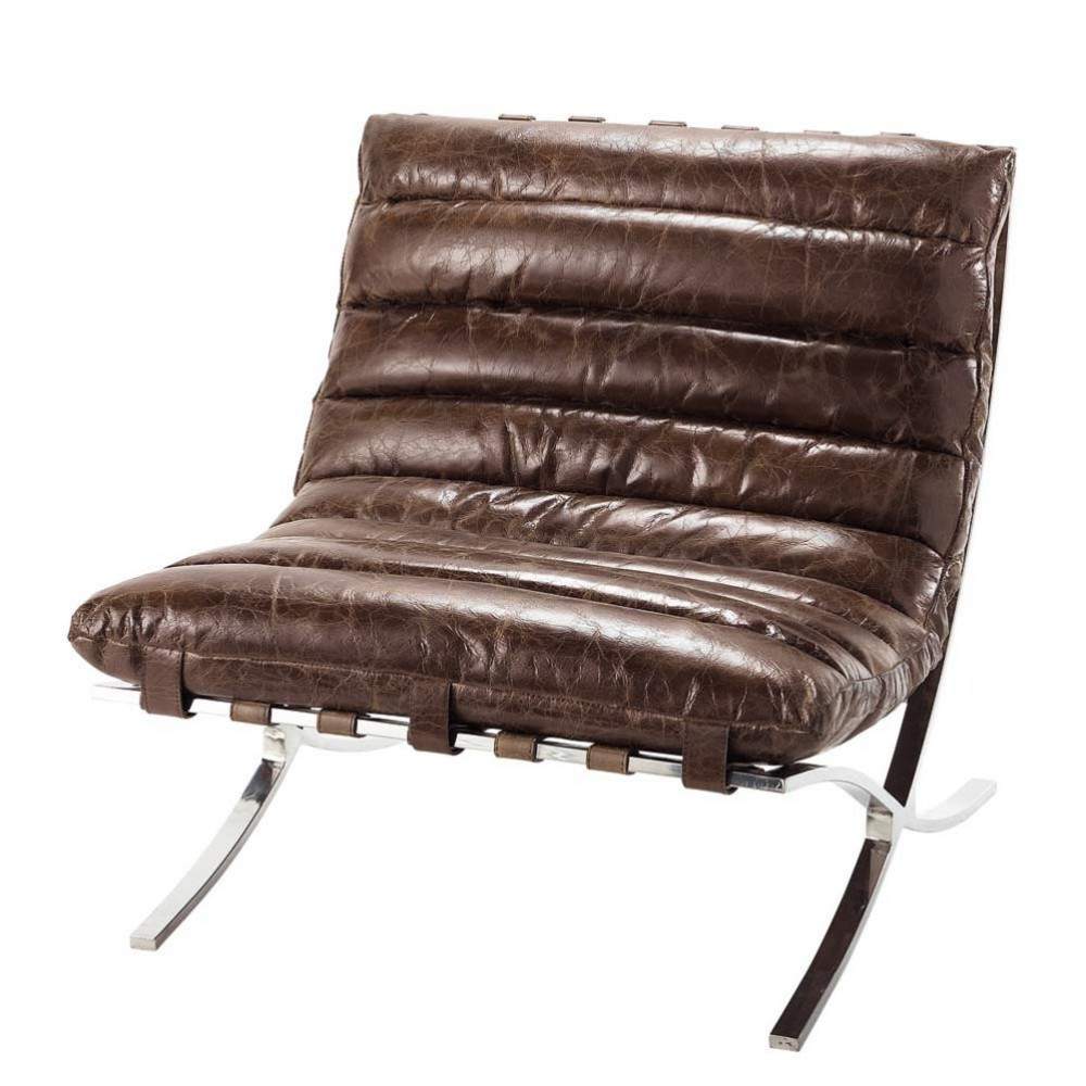 Distressed brown leather armchair beaubourg maisons du monde - Maison du monde rocking chair ...
