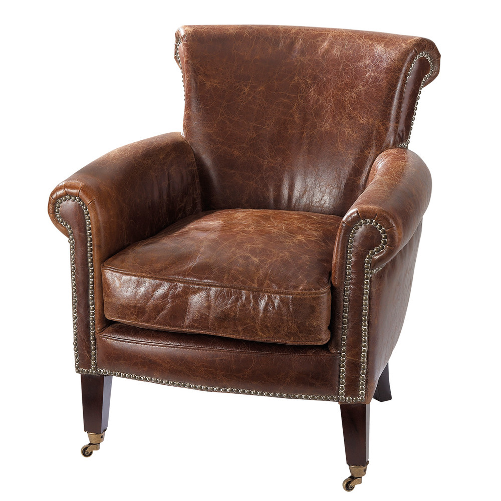 Distressed brown leather armchair Cambridge | Maisons du Monde
