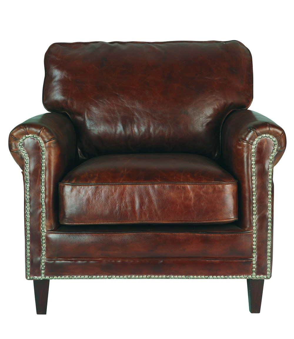 Distressed Leather Armchair In Brown